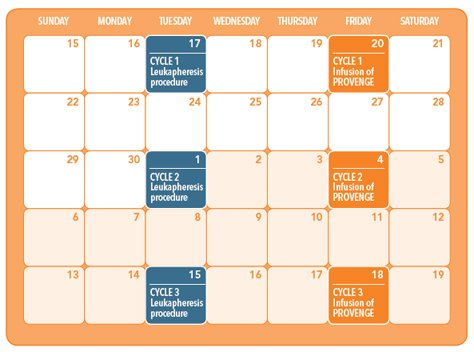 Provenge sample treatment calendar