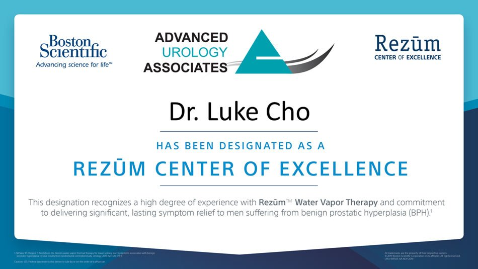 Dr. Luke Cho Designated as a Center of Excellence for Rezūm™ Water Vapor Therapy Treatment for BPH