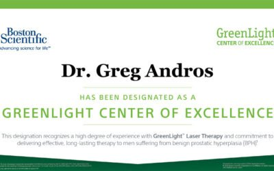 Dr. Gregory J. Andros Recognized as a Center of Excellence for GreenLight™ Laser Therapy for BPH treatment